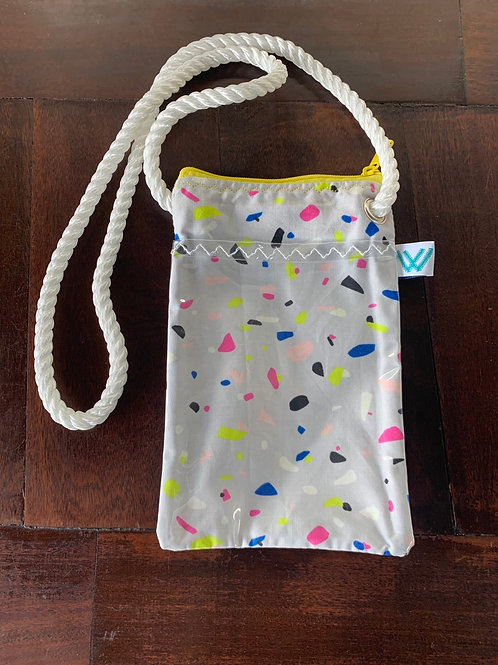 Crossbody with Clear cell phone pouch.