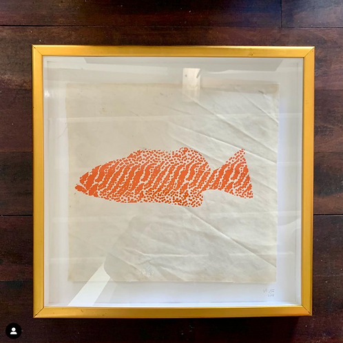 Grouper Screen Print on Recycled Sail