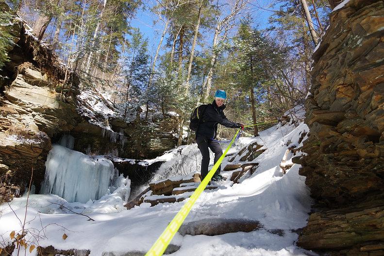 Winter Waterfall Ice Hiking at Ricketts Glen State park.JPG