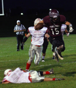 LEAP!… Zack Pickens leaps over a Constantine defender on his way down the field Friday. It was a heartbreaker for Water-vliet as the Panthers lost 60-58, suffering their second loss this season. (TCR photo by Kristy Noack)