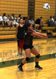 MERCEDE DAUGHERTY… volleys the ball back across the net during a visit to Coloma for quad action last Thursday. Watervliet lost to Kalamazoo Christian 25-11, 25-9. (TCR photo by Kristy Noack)