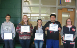 """Hartford Middle School Stu-dents of the Week… for Sep-tember are: top row, 8th grade Mackenzie Michael, not pic-tured is Moises Mejia; middle row, 7th grade (from the left) Jennifer Sarco, Lyla Rosses; and bottom row, 6th grade (from the left) Naydalin Villalobos, Samuel Gacnik. To become a """"Student of the Week"""", students are nominated by teachers or staff for doing something positive; for instance, getting a good grade on tests or homework, doing well in class participation or just being a kind person to another. Selected students will receive a certificate, their picture taken & posted in the middle school of-fice for the week, and their pic-ture in the Tri-City Record newspaper. At the end of the school year, all Students of the Week names will be entered in a drawing for some cool prizes, treats or gift cards.   Congratu-lations to these """"Students of the Week"""" and keep up the great work!"""