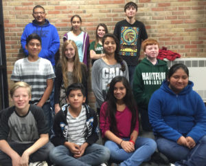 "HARTFORD MIDDLE SCHOOL'S ""STUDENTS OF THE WEEK""… for October are pictured (from the left) Back row: 8th graders Boan Cruz, Asuzena Loera, Crystal Steele and Jonathan Snider; Middle row: 7th graders David Marti-nez, Alora Gatties, Jasmin Gar-cia and Bo Janicki; Front row: 6th graders Seth Luster, Jorge Liborio-Davila, Flor Lopez, and Brenda Hernandez-Mendoza. To become a Student of the Week, students are nominated by teachers or staff for doing something positive.  For exam-ple: getting a good grade on tests or homework, doing well in class participation or just be-ing a kind to another person.  Selected students will receive a certificate, have their picture taken & posted in the Middle School Office for the week and in the Tri-City Record newspa-per.  At the end of the school year, all Students of the Week names will be entered in a drawing for some cool prizes, treats or gift cards. Congratula-tions to these Students of the Week and keep up the great work!"