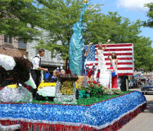 """RED, WHITE, AND """"BLUE""""AUTIFUL… Water-vliet's """"Party in the U.S.A."""" float won the """"Most Patriotic"""" award Saturday during the 4th of July parade. (TCR photo by Kristy Noack)"""