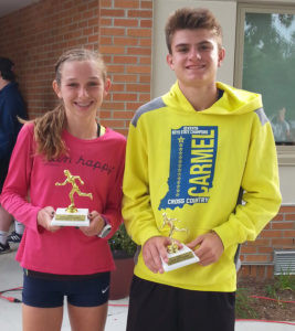 BEDNAROWSKI 5K RUN WINNERS… Peyton Whitt, 15, of Kalamazoo was the first female finisher in the Gene Bednarowski 5k run held Satur-day morning. First place overall finisher was Calvin Bates of Carmel, Indiana. (TCR photo by Kristy Noack)