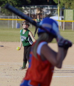 GOODSEN GETS ON THE BALL… Hartford's Lainey Goodson pitched to Ed-wardsburg on Tuesday, June 27. Although she held the Eddie scoreless in the first inning, Edwardsburg would go on to beat the Indians 18-2. (TCR photo by Kristy Noack)