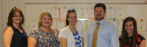 NEW PANTHERS IN THE CLASSROOMS… The Watervliet Board of Education members were introduced to new staff members during Monday's meeting. New teachers include (from the left): Winnie Staffen, Colby Tein, Nicole O'Toole, Bryan Arbut, and Alecia Hickman. Anna Layer was not available for the photo. (TCR photo by Kristy Noack)