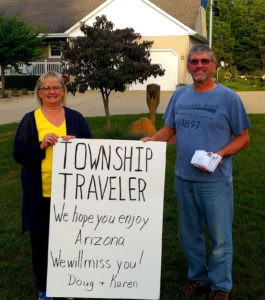CURIOUS TALE OF THE TOWNSHIP TRAVELER… tells of a shoebox full of untraceable letters and a bundle of cash which leaves Doug and Karen Williams in a quandary as they bid farewell to their benefactor who remains a complete mystery to the Keeler Township couple. (TCR Photo by Jon Bisnett)