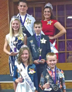 FAIR ROYALTY…This year's Van Buren Youth Fair royalty include - King Johnathan Newland of the Porter Busy Fingers; Queen Chelsea Harrison of the Silver Spurs; Princess Lauren Parman; Prince Brett Clauser of the West Valley Livestock; Duchess Anya Butler of the Shamrock Shakers; and Duke Dane Ostlund of the Porter Busy Fingers. The contest was held July 10 at the Lawton Community Center. The Fair is open through Saturday. The fairgrounds are just east of Hartford on Red Arrow Highway.