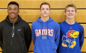 COMETS SOAR TO FIRST TEAM… Four Coloma Comets were selected First Team All-Division award winners for their contributions on the football field this season. Pictured (from the left) are: Jamane Smith, Levi Wilkins, and Zach Goodline. Smith and Wilkins are juniors, while Goodline is a sophomore. Not pictured is senior Caleb McDaniel.