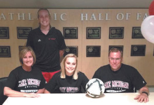 COLOMA GRADUATE SIGNS LETTER OF INTENT… Congratulations Paige Derrick of Coloma High School who signs letter of intent with head coach Justine Dover with Lake Michigan College to play soccer. She is the daughter of Terry and Kim Derrick.