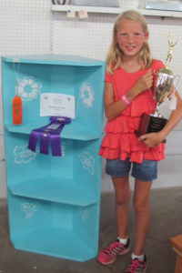 NATALIE VAN LENTE… who is 9 won Champion wood-working for her age group. She also entered baked goods, jewe-lry, pinewood derby car, horti-culture, and flowers. She is a 4th grader at Watervliet North Elementary and the daughter of Jonathan and Kate Van Lente.
