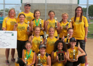 Coloma 12U All Star Team… went undefeated in the Berrien Springs All Star Tournament, and won the championship with a 7 to 2 win over Bridgman! Pictured front row (from the left): Taylor Brown, Addy Kimmerly, Taryn Blazier and Kylie Prisk. Middle row (from the left): Adian Allmon, Chloe Williams and Mady McQuillan. Back row (from the left): Coach April Brown, Chloe Mathis, Head coach Mike Brown, Gra-cie Whitaker, Alyssa Birmele, Haley Antio and Coach Lindsey McQuillan!! Great season girls. Two out of three All Star tour-naments we brought home the championship!!