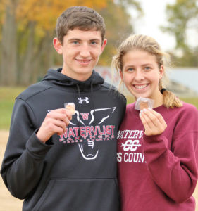 HEADED TO STATE!… Wa-tervliet senior Jobe Kerr and sophomore Allie Pazera are headed to state competition in cross country after their finishes in Saturday's regional meet in Buchanan. Kerr finished fifth overall with a time of 17:11.0. Pazera finished 11th with a time of 21:59.5. Both athletes will head to Michigan International Speedway in Brooklyn for Sat-urday's state finale. (TCR photo by Kristy Noack)
