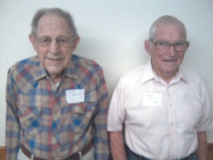 WATERVLIET HIGH SCHOOL GRADUATES FROM THE 1930s... Pictured (from the left) are Ewald Ro-dewald and William Fur-lan. These men represented the oldest alumni in attendance at the Watervliet 40 Year Club all school reunion, held Saturday, August 20, 2016. Ewald was a member of the Class of 1936, and is 98 years old. William was a member of the Class of 1937, and is 97 years old. Both men are veterans who served in the United States Army from 1942-1946. Also, both men are still able to drive. They shared many memories with some of the other 150-plus atten-dees. Besides the 1930s...the 1940s, 1950s, 1960s, 1970s, and 1980s were also represented. (TCR photo by Greg Krell)
