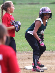ALL STAR STEELY GAZE… Hartford All Star's Raven Le-desma eyes third base after blis-tering a double during first in-ning action against Blooming-dale. After winning 15-0, Hart-ford faced Dowagiac. (TCR photo by Kristy Noack)