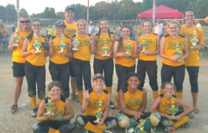 COLOMA'S ALL-STAR CHAMPIONS… The Coloma All-Stars won the 12U cham-pionship on Sunday, June 19 in a thrilling 14-4 victory over Watervliet. Teammates pictured front row (from the left): Addy Kimmerly, Madison McQuillan, Taryn Blazier, and Taylor Brown. Second row (from the left): Coach April Brown, Kylie Prisk, Adian Allmon, Head Coach Mike Brown, Chloe Wil-liams, Gracie Whitaker, Chloe Mathis, Alyssa Birmele, Haley Antio, and Coach Lindsey McQuillan.