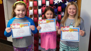 WATERVLIET NORTH SCHOOL ROCK STARS OF THE WEEK… Pictured (from the left): Samantha Rowe, third grade student in Mrs. Brown's class. Samantha is a Rock Star for being caring, responsible and hard working. Angel Nearpass, student in Mrs. Moxley's fourth grade class. Angel was nominated for always doing her best. She is always happy to help her teachers and her class-mates. Julie Rudell, who is a fifth grader in Mrs. Morse's class. Julie always has a positive attitude, gives 100% effort all of the time, and is kind to everyone. Congratulations to all the Rock Stars!