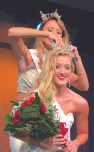 ELISABETH FELLOWS… a former Miss Watervliet, leans down to receive the 2017 Miss Southwest Michigan crown. She will go on to compete in the Miss Michigan Pageant in June 2017, with her eye on Miss America. The 20 year-old is a junior at Grand Valley State University.