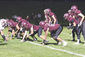 A-1 D-LINE… Watervliet's defensive line, including Shel-don Tobar (62) stood strong against Delton Kellogg Friday night. Watervliet won 64-34 for their fifth victory of the season. (TCR photo by Kristy Noack)