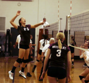 ARIANA'S UP, UP, AND WAITING… Watervliet's Ariana Rowe leapt for a return volley during Thursday's game against Lawton. Rowe had eight kills in the two-game match, in which the Lady Panthers were victorious, 25-19, and 25-20. (TCR photo by Kristy Noack)