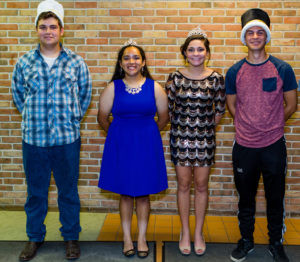 AND THE WINNERS ARE… The people have spoken, the court has been crowned, and these royals will always be re-nowned, as the prince, princess, king and queen of Hartford High School's 2016 Homecom-ing. Pictured are (from the left) Prince Logan Snodgrass, Prin-cess Jessica Cortes, Queen Sa-rah Rice and King Jake Griffith. Congratulations to all including the football team as they were victorious last Friday over the Bangor Vikings.