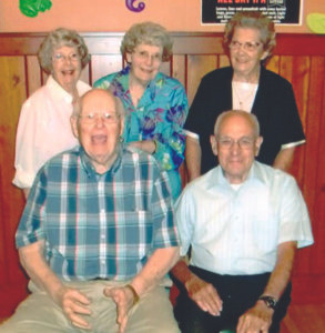 COLOMA CLASS OF 1945… meet with the Class of 1944 in August at The Friendly Tavern in Coloma. Pictured are (from the left) front row: Don Johnson and Dawayne Biastock; Back row: Rosamond Becht Umph-rey, Frances Swarsky Bisnett and Helen Baes Brooks.