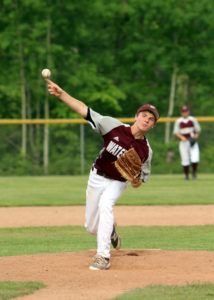 MATTHEWS ON THE MOUND… Watervliet fresh-man Garrett Matthews took to the mound on Tuesday for the team's pre-district game against Hartford. Matthews allowed two runs on four hits and struck out six batters as Watervliet topped Hartford 4-2 to advance to the district semifinals game against Coloma.  (TCR photo by Kristy Noack)