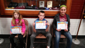 WATERVLIET NORTH SCHOOL STUDENTS ROCK STARS OF THE WEEK… Pic-tured (from the left) are Brianna Zwar, third grade student in Mr. Babcock's class, she is caring, kind hearted and shows tre-mendous effort every day; Tyler Kuehl, fourth grader in Mrs. Graffenius' class who has done the same this week as well as quick to smile and lend a help-ing hand; and Yvette Alvarado, fifth grader in Mrs. Kane's room who has 71 Reading Count points and always turns in her work. Congratulations Rock Stars and keep up the good work! Thank you to Burg-er King for donating gift certifi-cates.