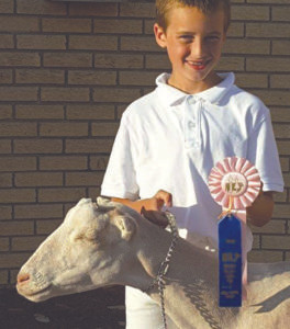 TYLER KUEHL… 9, received a 4th place with his dairy weth-er goat. He is a fourth grader at Watervliet North Elementary. His parents are Stacy and Elden Kuehl. He has been showing at the fair for four years.