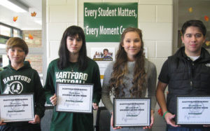 """HARTFORD HIGH SCHOOL'S """"STUDENTS OF THE WEEK""""… for the week of November 7 – 11, pictured (from the left) are: 9th Grade  -  Mason Summerton, student of Kevin & Sandra Reed; 10th Grade -  Kourtney Clemons, student of Erica Shafer; 11th Grade - Cora Wesaw, student of Deanna Brown & Fabian Wesaw Sr.; and 12th Grade -  Paul Chappell, student of Mike & Marissa Chappell. To become a """"Student of the Week"""", students are nominated by teachers or staff for doing something positive.  For exam-ple: getting a good grade on tests or homework, doing well in class participation or just being a kind person to another. Selected students will receive a certificate, their picture taken & posted in the HS front lobby showcase for the week and in the Tri-City Record newspaper.  At the end of the school year, all Students of the Week names will be entered in a drawing for some cool prizes, treats or gift cards. Congratulations to these """"Students of the Week"""" and keep up the great work!"""