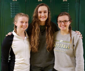 COLOMA'S TRIPLE THREAT… Three Coloma var-sity volleyball players received First Team All-Conference awards. Pictured are (from the left) Morgan Wagner, Kelly Walter, and Kayla Yore. The three juniors helped lead Colo-ma to a conference championship this year.