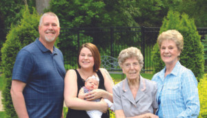 FIVE GENERATIONS… Marjorie Zachary of Niles was recently joined by her daughter Judy (nee Zachary) Noack of Coloma, grandson Michael Noack of Watervliet, great-granddaughter Lauren Noack, and great-great-granddaughter Adilynn Brautigam, both of Bridgman, for a five-generations photo.