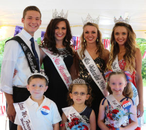 4TH OF JULY LITTLE MISS AND MR. FIRECRACKER COURT… The Little Miss and Mr. Firecracker were crowned Saturday morning under the Main Stage tent. Caroline We-ber was chosen as the 2016 Lit-tle Miss Firecracker, while Braydon Collins was named Little Mr. Firecracker. They joined the 2016 Miss and Mr. Watervliet court. Pictured front row (from the left): Little Mr. Firecracker Braydon Collins, Little Miss Firecracker Caroline Weber, and 1st Runner-Up Li-lyahna Collins. Back row (from the left): Mr. Watervliet Brody Roland, Miss Blossomtime's Miss Congeniality and 1st Run-ner-Up to Miss Watervliet Aliea Chapin, Miss Watervliet Karlee Liles, and 2nd Runner-Up and Miss Congeniality Brittney Col-lins. (TCR photo by Kristy Noack)