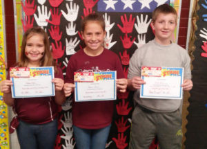 WATERVLIET NORTH SCHOOL ROCK STARS OF THE WEEK… Pictured (from the left) is Aubrey Hayes, third grade student in Mrs. Bohle's class. She is always happy, hard working and willing to lend a helping hand. Alyssa Brown, fourth grader in Mrs. Hollo-way's class who always tries to do her best and helps others when she can. On a side note, Alyssa is working really hard to break the World Record in Reading Count points! Good luck Alyssa. Keith Hiler, fifth grader in Mrs. Law's room and exhibits great participation in class, always turns in his work and is always polite and res-pectful. Congratulations Rock Stars and keep up the good work! Thanks to Burger King for donating gift certificates.