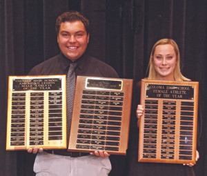 COLOMA AWARDS TOP ATHLETE HONORS… Coloma's Male and Female Athletes of the Year were awarded on May 17. Skylar Brown was named Top Male Athlete of the Year and was also awarded the Neil Peters CHS Athletics and Academics award. Paige Derrick was named Top Female Athlete of the Year.
