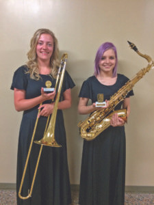 2016 JOHN PHILIP SOUSA AWARD… Carly Lentz (pic-tured on the left), Coloma High School senior, was presented with the 2016 John Philip Sousa Award at the Coloma Spring Band Concert on May 18.  She was chosen by the band and Mrs. Thomas based on her lea-dership, dedication, and musi-cianship. Carly, the daughter of Richard and Donna Lentz plays trombone in the concert, march-ing, jazz, and pep bands. She plans to attend LMC next fall.  Chloe Poirier (pictured on the right), Coloma High School se-nior, was presented with the 2016 Louis Armstrong Jazz Award at the Coloma Spring Band Concert on May 18. She was chosen by the band and Mrs. Thomas based on his lea-dership, dedication and musi-cianship. Chloe, the daughter of Michael Poirier and Stephanie Andrews, plays tenor saxo-phone in the concert, marching, pep, and jazz bands.  She plans to attend WMU next fall.