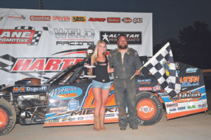 HARTFORD SPEEDWAY...Michigan dirt Cup modified driver David Mielke wins at speedway on Friday night, July 1.