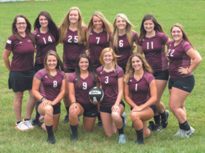 PANTHERS WIN TEAM ACADEMIC ALL-STATE AWARD… The Watervliet var-sity volleyball squad scored high honors by winning the Team Academic All-State Award following their season. Members of the squad include (left to right) Front row: Mer-cede Daugherty, Maggie Lynch, Katie Schultz, and Logan Miz-wicki; Back row: Coach Edie Daugherty, Katie Clark, Ariana Rowe, Kara Liles, Zoe Smith, Madalyn Hutchins, and Grace Smith.
