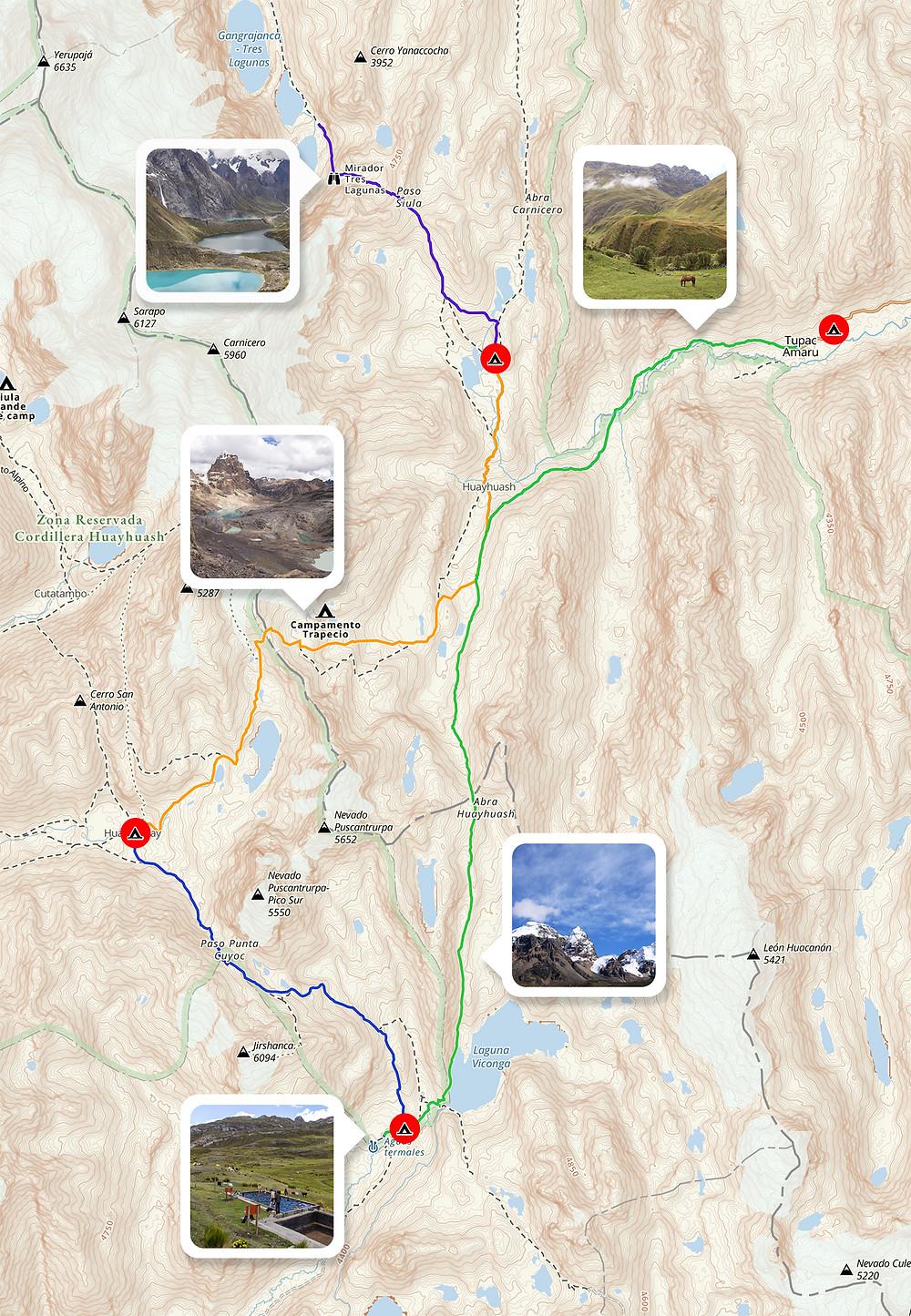 Itinéraire trek Huayhuash en autonomie 5 jours