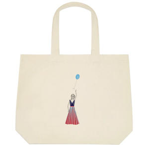 girl with a balloon tote bag $45