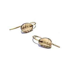 smokey quartz leaf earrings