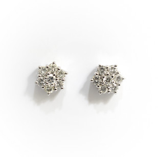 18ct white gold diamond cluster earrings. Total diamond weight 0.88ct, G/H colour, Si clarity. £1,450.00