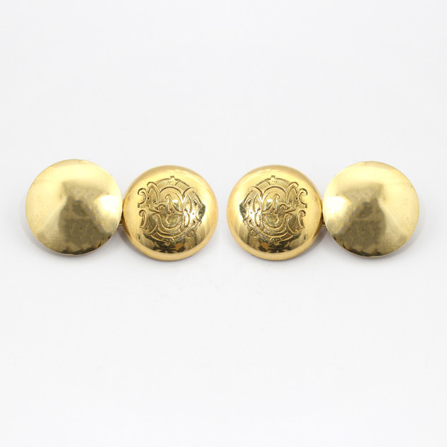 15ct yellow gold, circular and domed cufflinks with monogram. £250.00