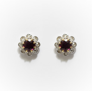 18ct white gold circular ruby and diamond cluster earrings. £1,650.00