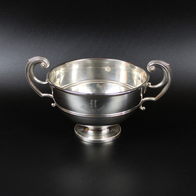 Two handled trophy with case engraved 1st June 1908 Hallmark 1907  12 ¾ oz £ 325.00