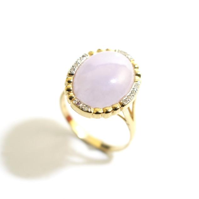 14ct yellow gold pink jade and diamond set dress ring. £750.00
