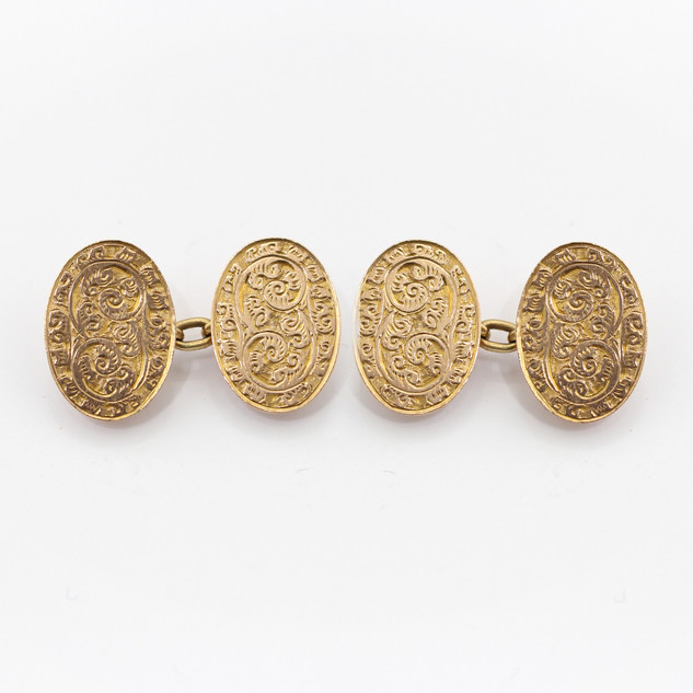 9ct rose gold oval chain cufflinks with floral engraving. £475.00