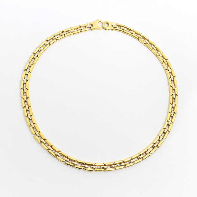 18ct yellow gold fancy link collar in fine condition. £3,250.00