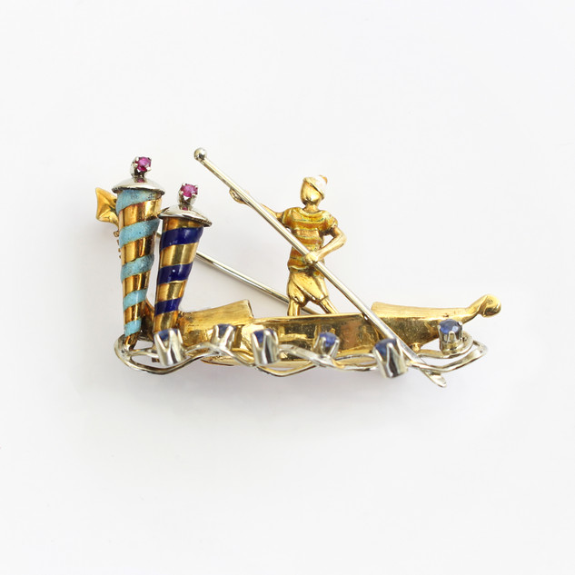 Yellow gold mounted multi gem set gondola brooch with enamelled details. £1,650.00